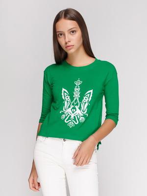 Лонгслив зеленый с принтом | 4578160