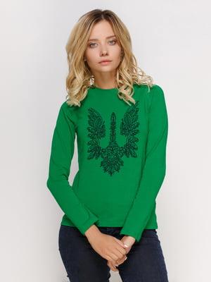 Лонгслів зелений з принтом   4577872