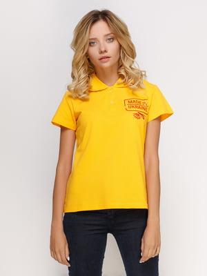Футболка-поло желтая с принтом | 4578481