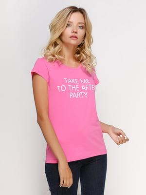 Футболка розовая с принтом | 4578578
