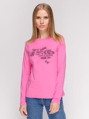 Лонгслив розовый с принтом | 4577888