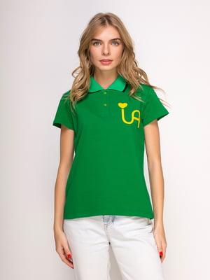 Футболка-поло зеленая с принтом | 4583035