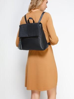 Рюкзак з блискавкою і китицею, чорного кольору | 4577629