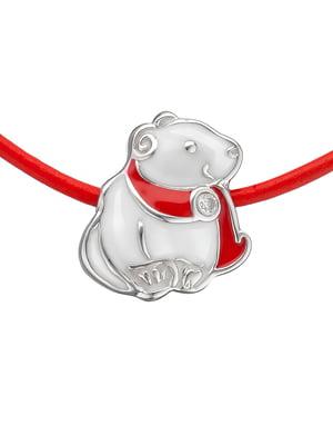 Кулон на кожаном шнурке «Мишка в шарфике»   4588814