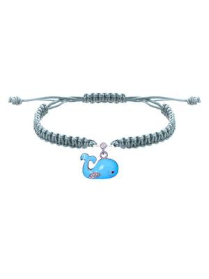 Браслет плетеный с серебряным украшением «Кит»   4588889