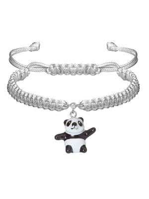 Браслет плетеный с серебряным украшением «Панда»   4588907
