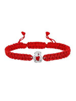 Браслет плетеный с серебряным украшением «Мишка с сердечком»   4588915