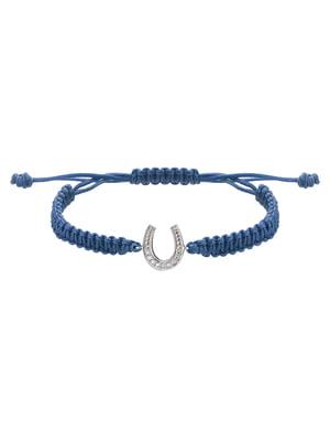 Браслет плетеный с серебряным украшением «Подкова малая»   4588933