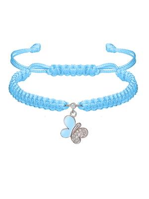Браслет плетеный с серебряным украшением «Бабочка»   4588970