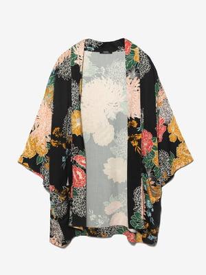 Кардиган черный в цветочный принт   4561841