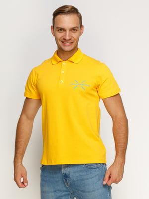 Футболка-поло жовта з принтом | 4578465