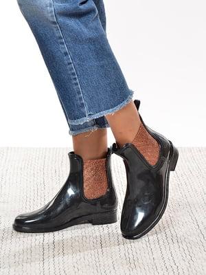 Ботинки черные со вставками цвета меди | 4582428