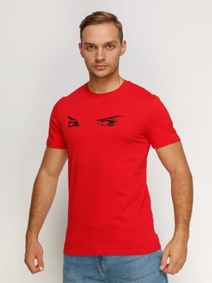 Футболка червона з принтом | 4578532