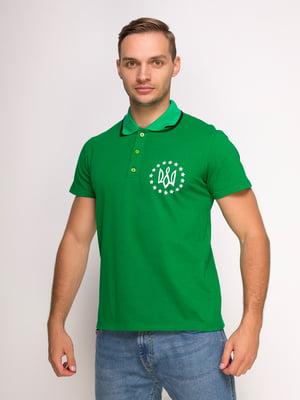 Футболка-поло зелена з принтом | 4583036