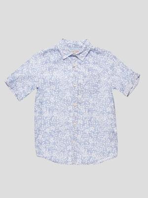 Сорочка блакитна в принт | 4520391