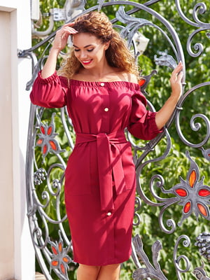 Платье бордовое с декоративными пуговицами | 4555873