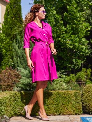 Платье с поясом фиолетового цвета | 4555883