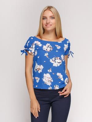 Блуза голубая в цветочный принт   4527869