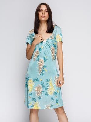 Платье голубое в цветочный принт | 4590551