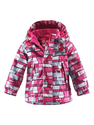 Куртка малинового цвета в принт | 4597054