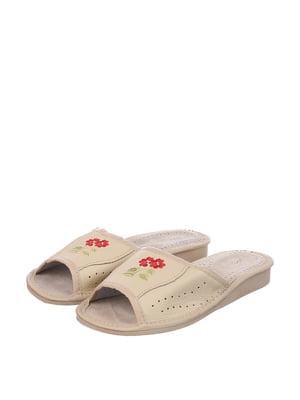 Тапочки белые с вышивкой | 4599430