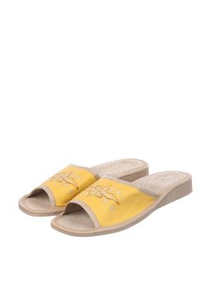 Тапочки жовті з вишивкою | 4599444