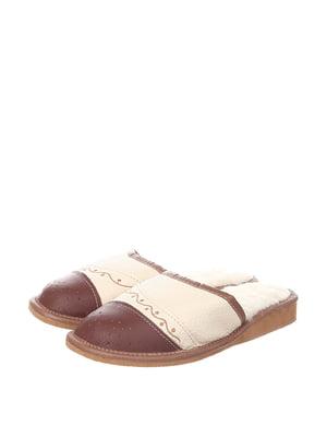 Тапочки бежево-коричневые | 4599533