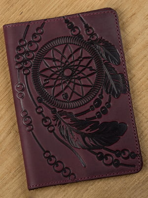 Обложка на паспорт бордовая с рисунком | 4594590