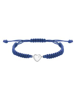 Браслет плетеный с серебряным украшением «Сердце большое»   4602912