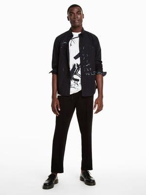 Рубашка черная в декором и надписью | 4588009
