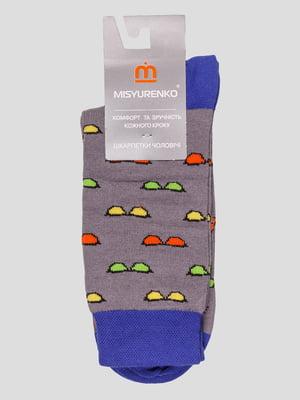 Шкарпетки сірі в принт | 4113140