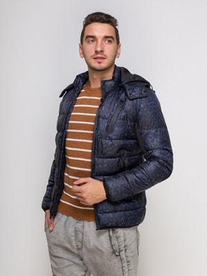 Куртка синя на принт | 4512906
