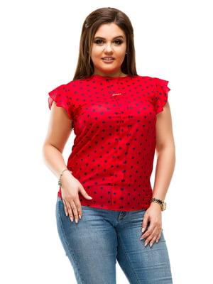 Блуза червона в горошок | 4613964