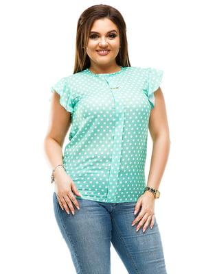 Блуза м'ятного кольору в горошок | 4613967