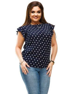 Блуза темно-синяя в горошек | 4613971