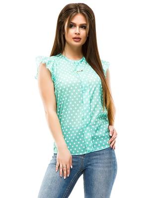 Блуза м'ятного кольору в горошок | 4613766