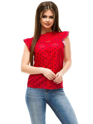 Блуза червона в горошок | 4613769