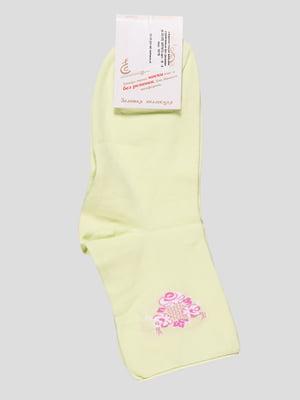 Носки цвета лайма с рисунком | 4543595