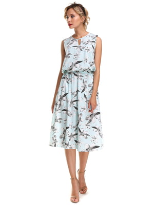 Платье голубое с цветочным принтом | 4592729