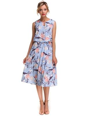 Платье голубое с цветочным принтом | 4615986