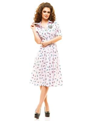 Платье розовое в принт | 4615464