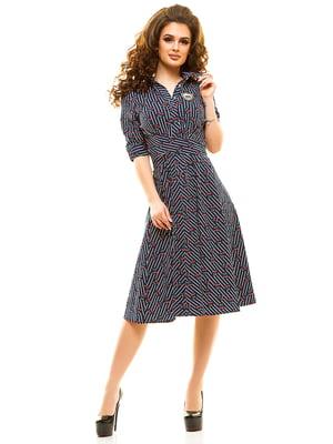 Платье темно-синее в принт | 4615471