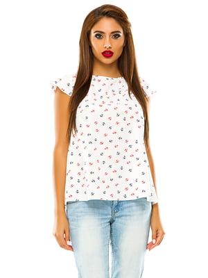 Блуза белая в принт | 4615620