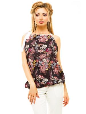 Блуза черная в цветочный принт | 4615667