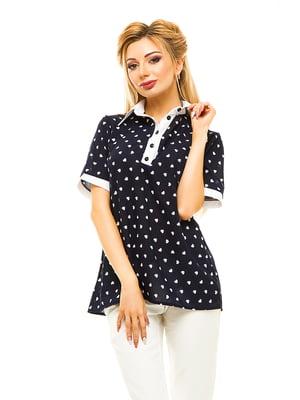 Блуза темно-синяя в принт | 4615682