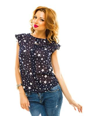 Блуза темно-синя в принт | 4615733