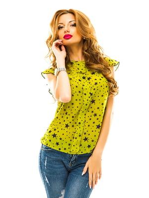 Блуза оливкового цвета в принт | 4615736