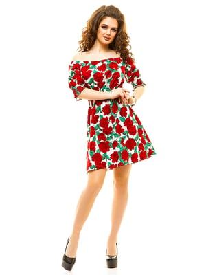 Сукня червона у квітковий принт   4615953