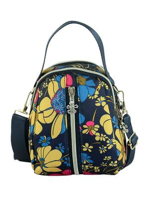Сумка-рюкзак темно-синяя с цветочным принтом | 4617467