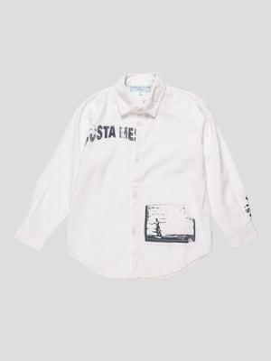 Сорочка біла з принтом | 4238161